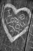 Wood Carving Posters - Wood Carving I Love You Poster by Connie Cooper-Edwards