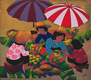 Asian Culture Prints - Wood Cut Texture Of Thai Fruit Seller  Print by Suriya  Silsaksom