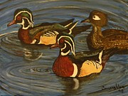 Wood Duck Paintings - Wood Ducks by John Connaughton
