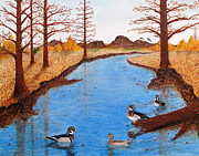 Wood Duck Painting Posters - Wood Ducks on Jacobs Creek Poster by L J Oakes