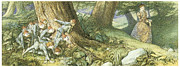 Elf Prints - Wood Elves Hiding and Watching a Lady Print by Richard Doyle