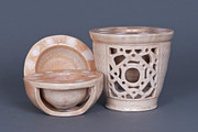 Wood Ceramics Prints - Wood Fired Ceramics Print by Tracy Pickett