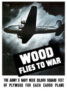 Wwii Propaganda Framed Prints - Wood Flies To War Framed Print by War Is Hell Store