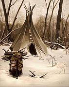 Tepee Posters - Wood Gatherer Poster by Nancy Griswold