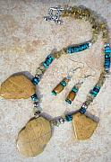 Hand Crafted Originals - Wood Jasper and Turquoise by Angie DElia