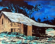 Barn Pen And Ink Pyrography Prints - Wood Shed Print by Mike Holder