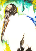 Ground Mixed Media Prints - Wood Stork Print by Anthony Burks