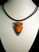 Wood Pendant Jewelry - Wood Veneer Arrowhead Necklace by Mark Hartung