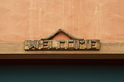 Storefront  Framed Prints - Wood welcome sign Framed Print by Blink Images