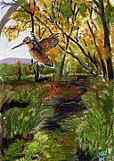 Woodcock Painting Originals - Woodcock in Vermont by Christine Winship