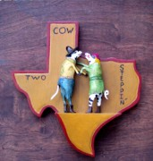 Dancing Reliefs Posters - Woodcrafted 2 COW STEPPIN Poster by Michael Pasko