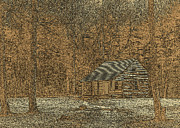 Tennessee Historic Site Prints - Woodcut Cabin Print by Jim Finch