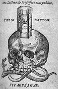 Woodcut Of Skull, Snake And Hourglass Print by Middle Temple Library