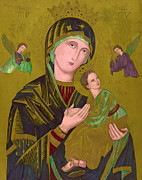 Woodcut Of The Virgin Mary, Titled S Print by Everett