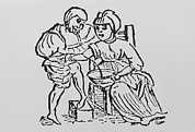 Historical Doctor Prints - Woodcut Showing Woman Being Bled By A Doctor Print by Dr Jeremy Burgess