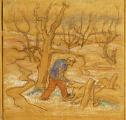 Saw Drawings Prints - Woodcutter Print by Willoughby  Senior