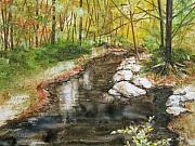Autumn Landscape Painting Prints - Wooded Creek Print by Marsha Elliott