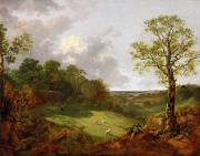 Wooded Landscape  Art - Wooded Landscape with a Cottage - Sheep and a Reclining Shepherd by Thomas Gainsborough