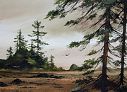 Watercolor Print Posters - Wooded Shore Poster by James Williamson
