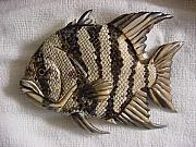 Aquatic Life Reliefs - Wooden Angel Fish Number two by Lisa Ruggiero