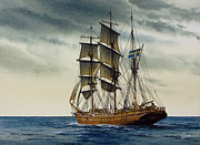 Tall Ship Painting Prints - Wooden Barque Under Sail Print by James Williamson