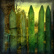 Old Wooden Fence Prints - Wooden barrier Print by Bernard Jaubert