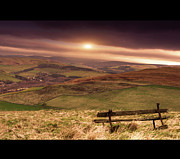 Solitude Photos - Wooden Bench In Field by Darren Muir