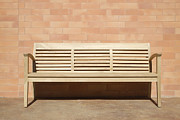 Against A Wall Framed Prints - Wooden Bench Set Against Brick Wall Framed Print by Jeremy Woodhouse