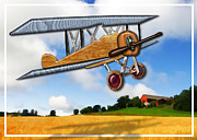 Plane Paintings - Wooden Biplane Over Farm Fields  by Elaine Plesser