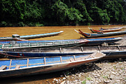 Laos Posters - Wooden Boat On River In Laos Poster by Thepurpledoor