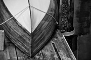 Handcrafted Metal Prints - Wooden Boat on the Dock Metal Print by Wilma  Birdwell