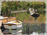Row Boat Digital Art Prints - Wooden Boat Placid Print by Tim Allen