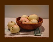 Wooden Bowls Prints - Wooden Bowl with Apples-I Print by Patricia Overmoyer