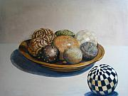 Wooden Bowl Paintings - Wooden Bowl with Spheres by Yvonne Ayoub