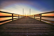 Holstein Framed Prints - Wooden Bridge At Baltic Sea Framed Print by Siegfried Haasch