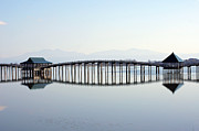 Pond Photography Photos - Wooden Bridge by The landscape of regional cities in Japan.