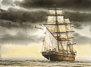 Tall Ship Painting Prints - Wooden Brig Under Sail Print by James Williamson
