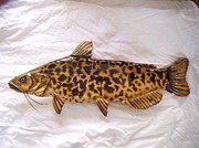 Catfish Mixed Media - Wooden Brown Bullhead Catfish number four by Lisa Ruggiero