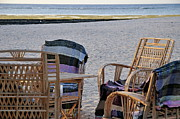 Beach Towel Prints - Wooden chairs on  beach at sunrise Print by Sami Sarkis