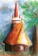 Orthodox Pastels Originals - Wooden Church by Jova Mirona