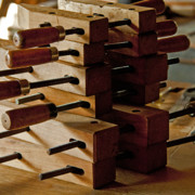 Handcrafted Prints - Wooden Clamps Print by Wilma  Birdwell