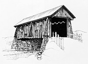 Covered Bridge Drawings Metal Prints - Wooden Covered Bridge Metal Print by Retouch The Past