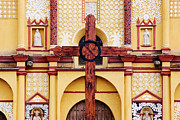 Wooden Sculptures Prints - Wooden Cross in Front of Church Print by Jeremy Woodhouse