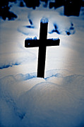 Wintry Metal Prints - Wooden Cross Metal Print by Joana Kruse