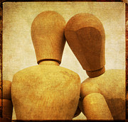Cutouts Posters - Wooden figurines Poster by Bernard Jaubert