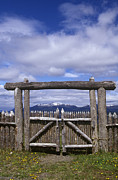 Chile Framed Prints - Wooden Gate at Fuerte Bulnes, Chilean Patagonia Framed Print by Will & Deni McIntyre