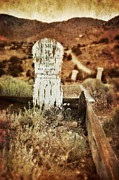 Haunted Hills Prints - Wooden Grave Marker Print by Jill Battaglia