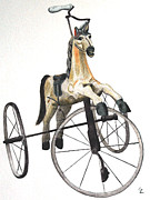 Tricycle Drawings Originals - Wooden Horse Trike by Glenda Zuckerman