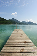 Salzkammergut Framed Prints - Wooden Jetty Out To Lake Fuschl Framed Print by Buero Monaco