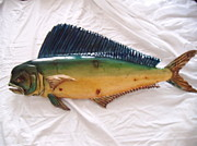 Aquatic Life Reliefs - Wooden Mah Mahi number ten by Lisa Ruggiero